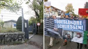 LPT-Zentrale in Hamburg; Demonstration gegen Tierversuche