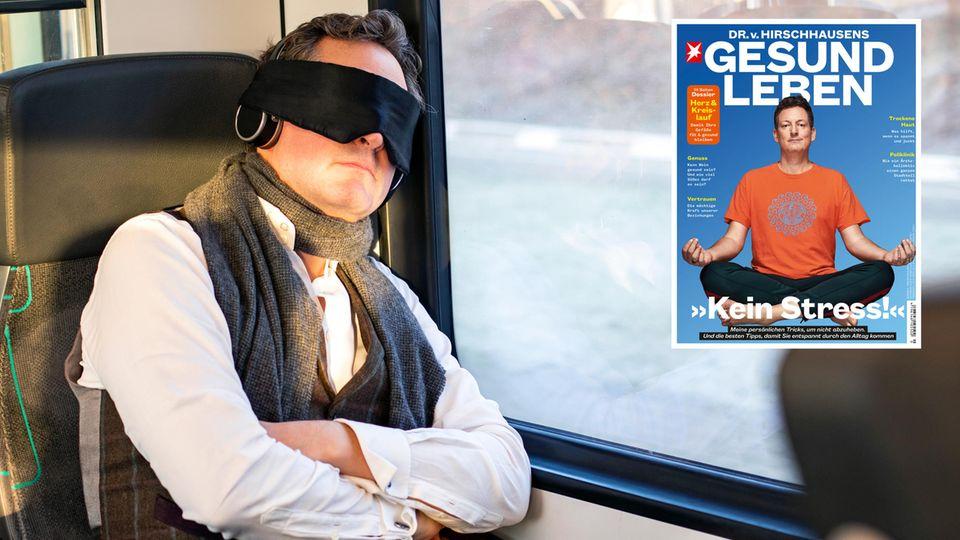 Eckart von Hirschhausen schläft in einem Zug