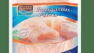 Verpackung des Tiefkühl-Pangasius-Filets, das bei Aldi Nord gehandelt wird