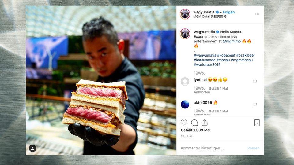 Mann mit Sandwich