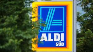 Werbeschild des Discounters Aldi Süd