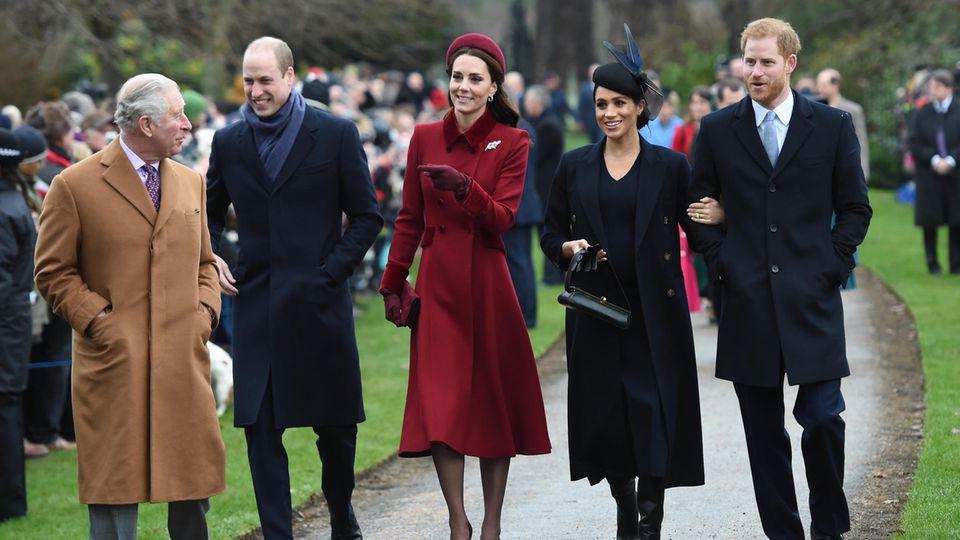 Prinz Charles, Prinz William, Herzogin Kate, Herzogin Meghan und Prinz Harry
