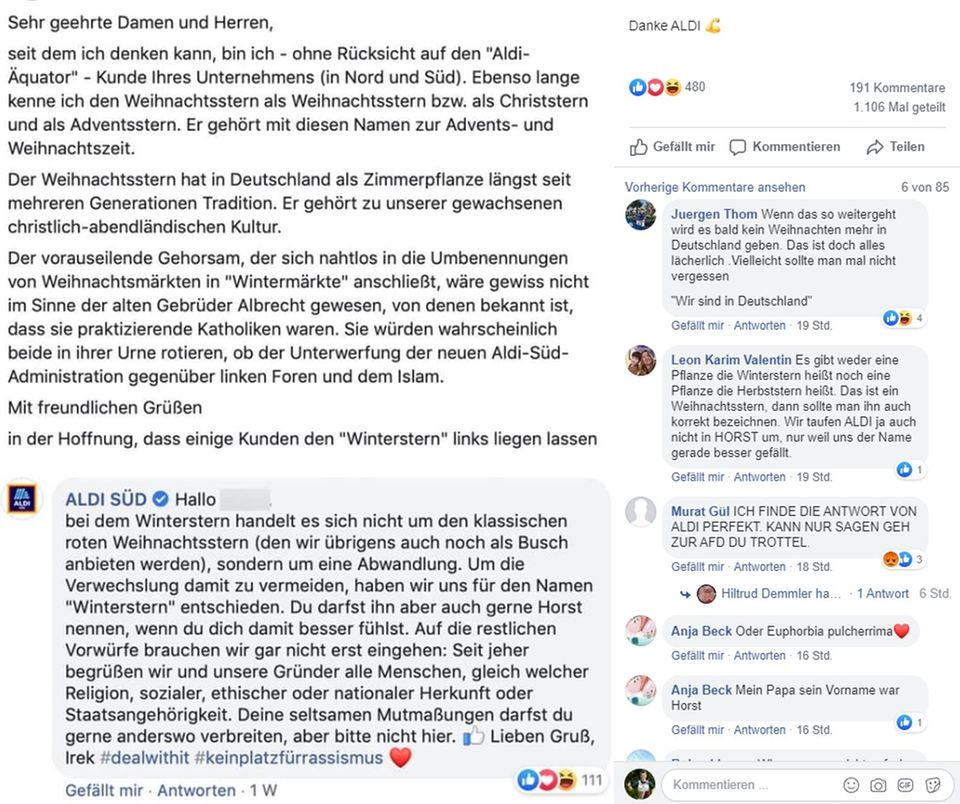 Screenshot der Facebook-Diskussion um den Weihnachtsstern