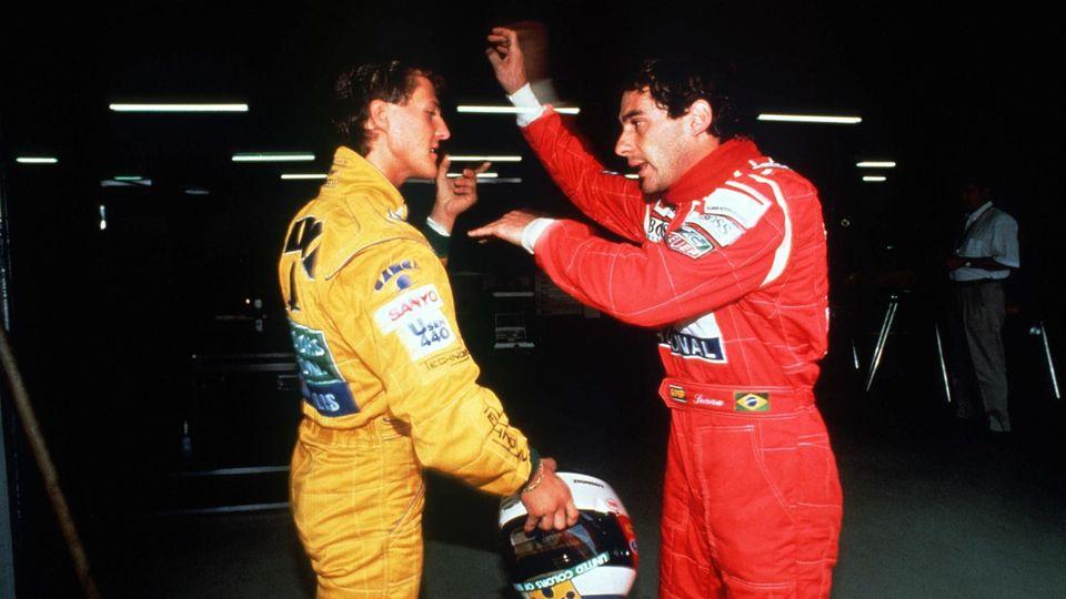 Ayrton Senna (r.) und Michael Schumacher
