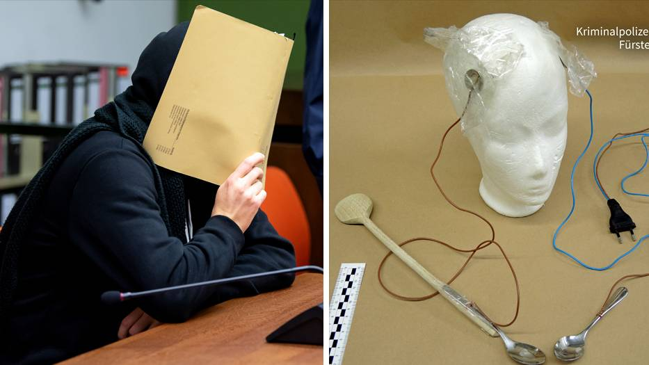 Angeklagter im Landgericht in München; Apparatur zur Verabreichung der Stromschläge
