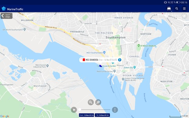Hat am 12. November um 7.39 Uhr im Hafen von Southampton festgemacht und liegt seitdem am Kreuzfahrtkai: die