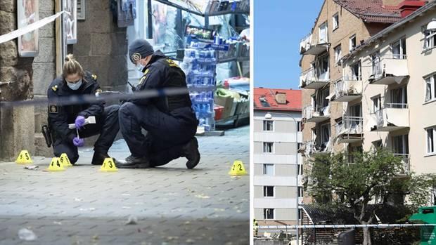Links: Kriminaltechniker untersuchen einen Tatort, rechts: eine beschädigte Hausfassade
