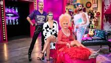 """Bill Kaulitz, Heidi Klum, Olivia Jones und Conchita Wurst (v.l.) bei der Auftaktsendung zu """"Queen of Drags"""""""