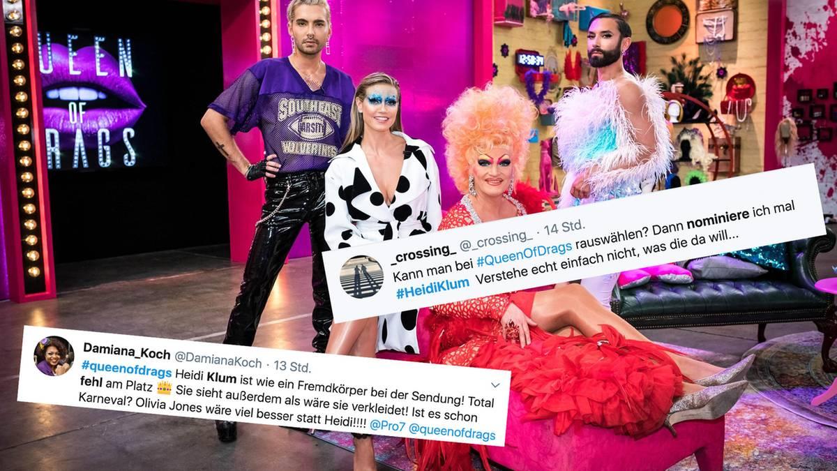 """Twitter-Reaktionen zu """"Queen of Drags"""": """"Kann man Leute rauswählen? Ich nominiere Heidi Klum"""""""