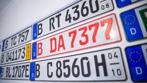 Verschiedene Autokennzeichen hängen an einer Wand