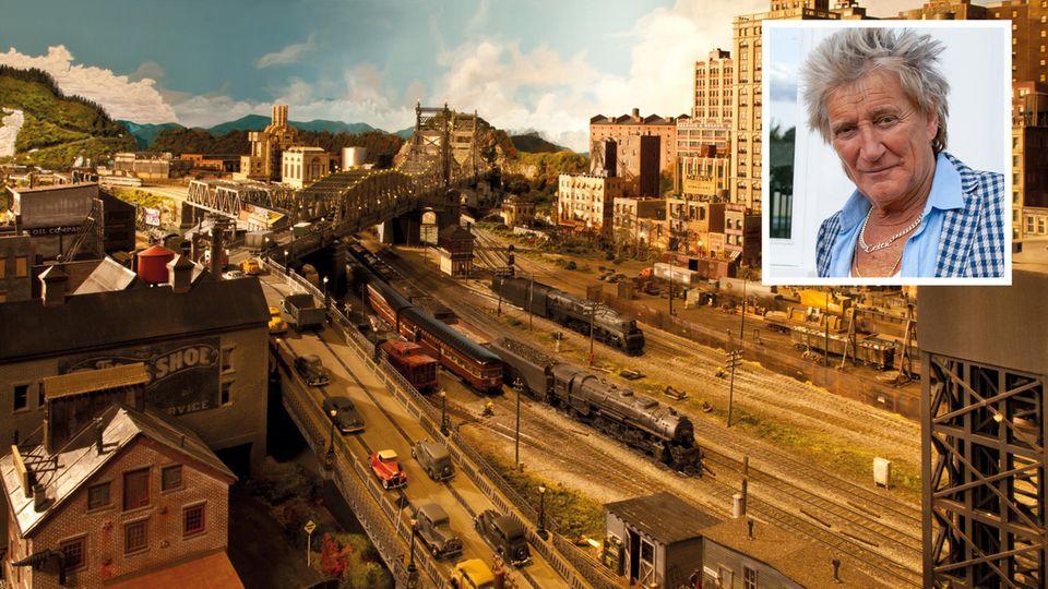 Rockstar hat aufwendiges Hobby: Mehr als 20 Jahre lang gebaut: Rod Stewart zeigt seine gigantische Modelleisenbahn