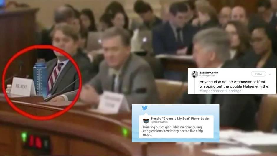 """Impeachment gegen Trump: """"Fox""""-Moderatoren beleidigen US-Diplomaten, weil er Wasser trinkt – auf Twitter amüsieren sich die Zuschauer"""