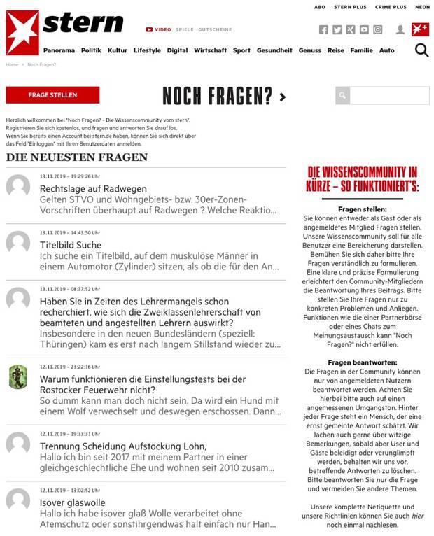Screenshot der Startseite der Noch-Fragen-Community / Wissenscommunity