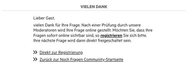 Screenshot der Danke-Seite