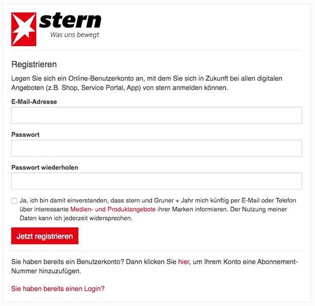 Screenshot der Registrierungsseite
