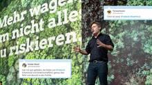 Auf dem Grünen-Parteitag hält Robert Habeck eine flammende Rede