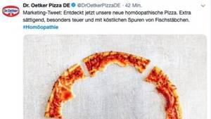 Der Originaltweet von Dr. Oetker. Text mit einem Bild von Pizza, die bis auf den Rand gegessen wurde