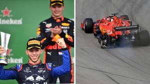 Max Verstappen und Pierre Gasly bei der Siegerehrung in Brasilien
