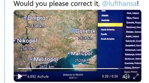 Lufthansa-Karte mit ukrainischen Städten