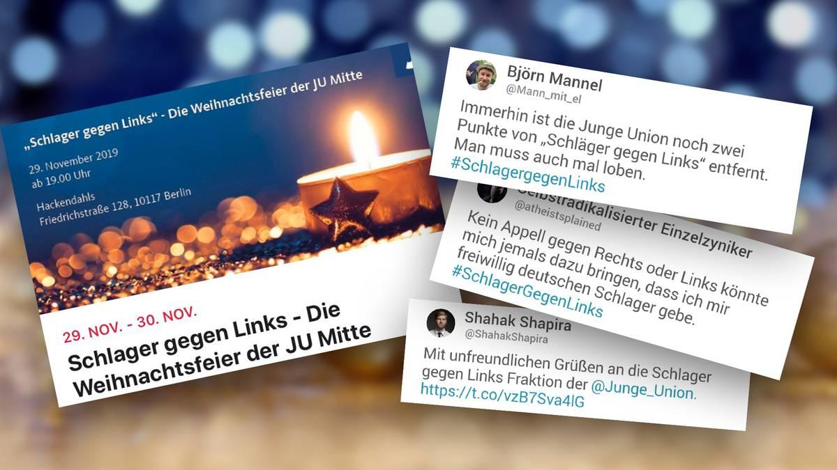 """Twitter-Reaktionen: """"Schlager gegen Links"""" – Weihnachts-Aktion der Jungen Union geht nach hinten los"""