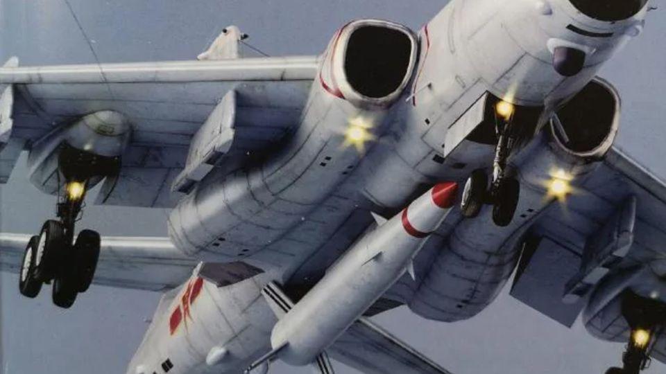 Chinesischer Flugzeugbomber Typo H-6N mit montierter ballistischer Rakete