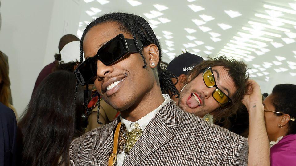 Asap Rocky und verrückter Fan vor der Gucci-Schau bei der Mailänder Modewoche