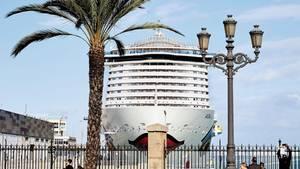 Kreuzfahrtschiff der Reederei Aida in Cadiz, Spanien