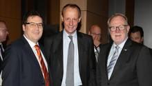 Christian von Stetten, Chef des Parlaments-Mittelstands, Friedrich Merz und Hans Michelbach
