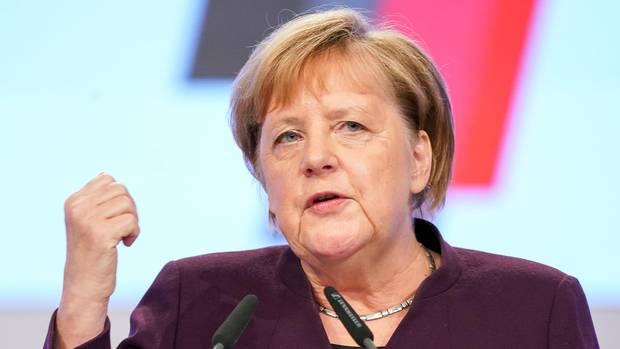 Bundeskanzlerin Angela Merkel (CDU), spricht beim CDU-Bundesparteitag