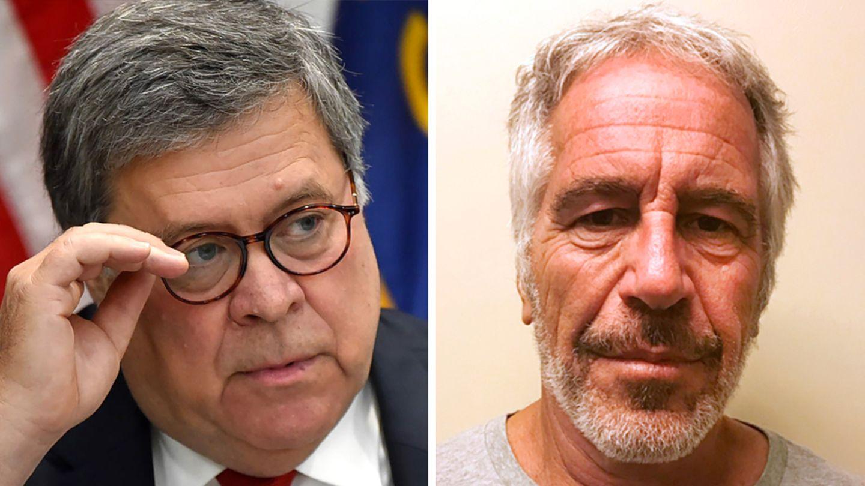 US-Justizminister William Barr (l.) und der verstorbene Sexualstraftäter Jeffrey Epstein