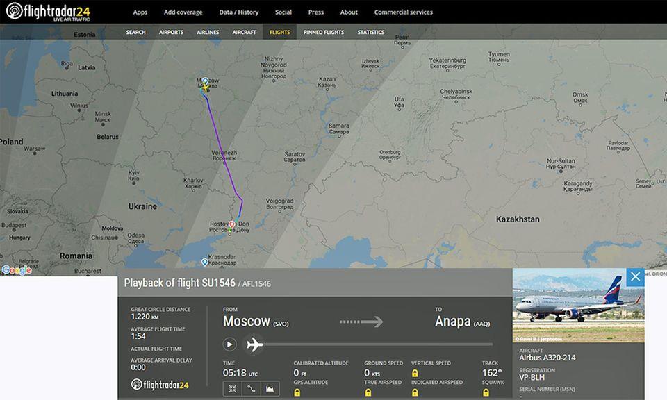 Der Aeroflot-Flugvon Moskaunach Anapa landete am 24. November außerplanmäßig in Rostow am Don