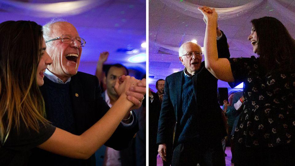 Bernie Sanders tanzt ausgelassen mit Anhängern in New Hampshire