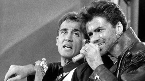 """Das britische Pop-Duo Wham! –Andrew Ridgeley (l) und George Michael – nahmen """"Last Christmas"""" 1984 auf"""