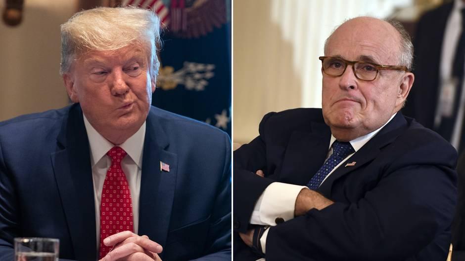 US-Präsident Donald Trump (l.) und sein persönlicher AnwaltRudy Giuliani