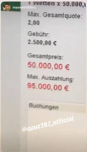 Die Wette auf einem Bildschirm. Maximale Auszahlung: 95.000 Euro