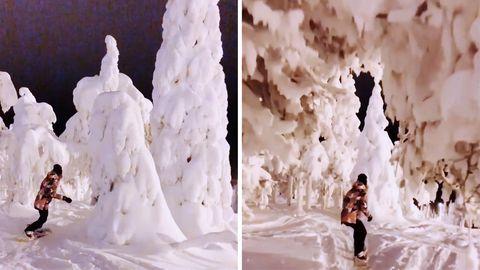 Snowboarderin Sanni Oksannen fährt durch einen verschneiten Wald