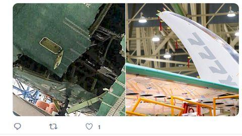 Kaputte Flugkabine einer Boing 777X