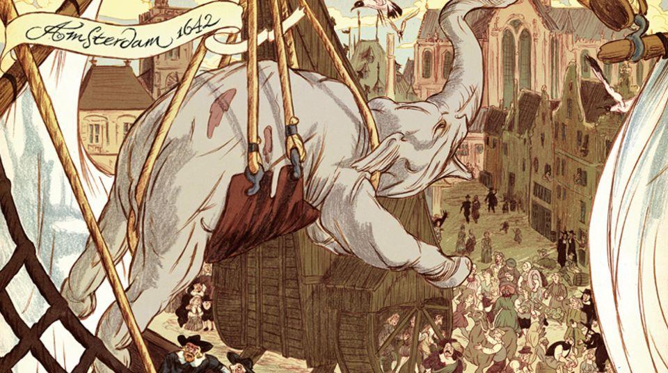 Doppelseite mit Elefant