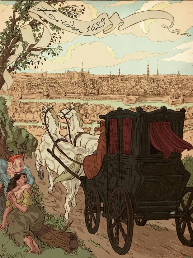 Eine Kutsche fährt auf eine Stadt zu