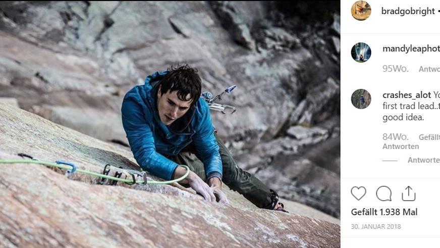 AufInstagram zeigte Kletterer Brad Gobright sich vor allem in Felswänden