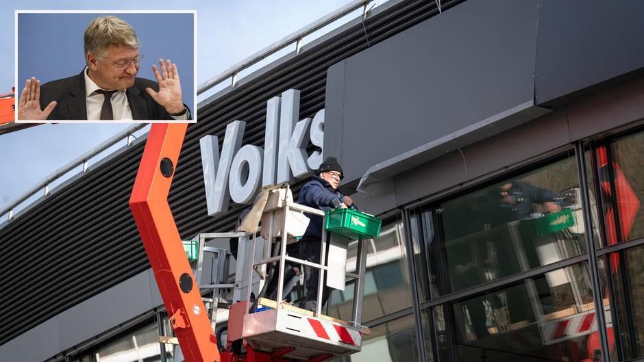 Parteitag der AfD: Volkswagen- Schriftzug auf Wunsch des Sponsors verdeckt worden
