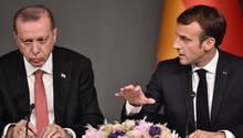 Der türkische Präsident Recep Tayyip Erdogan (l.) und sein französischer Amtskollege Emmanuel Macron