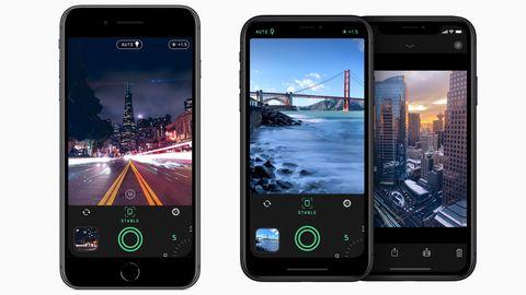 "iPhone-App ""Spectre Kamera"" auf 3 iPhone-Screens"