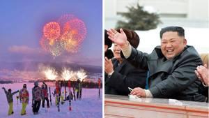 Collage: Feuerwerk und Kim Jong Un