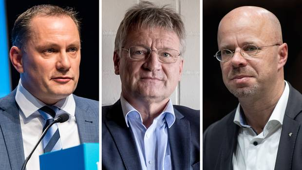 AfD-Bundessprecher Tino Chrupalla, AfD-Bundessprecher Jörg Meuthen und AfD-Beisitzer Andreas Kalbitz
