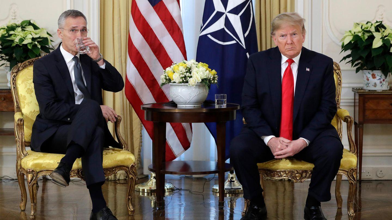 Donald Trump trifft NATO-Generalsekretär Jens Stoltenberg im Winfield House anlässlich des Nato-Gipfels