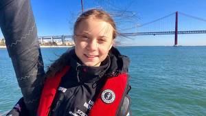 Greta Thunberg kommt in Lissabon an.