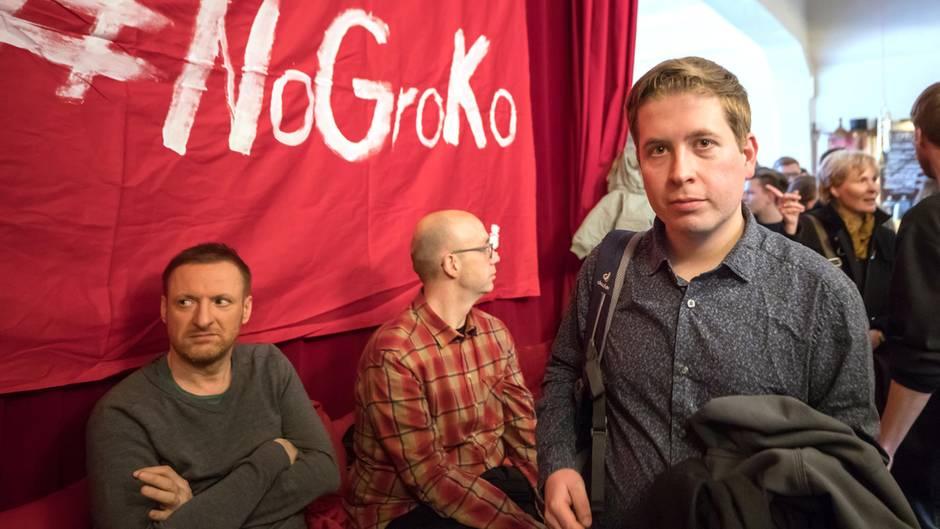 """Dieses Bild stammt vom Februar 2018. Damals machte Kevin Kühnert in seiner """"No Groko""""-Tour massiv Stimmung gegen die Bildung des Regierungsbündnisses aus Union und SPD."""