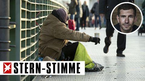 Ein Obdachloser in Berlin
