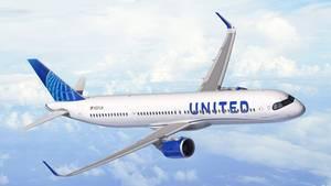 Computer Rendering: Ein Airbus A321XLR in der Bemalung von United Airlines. Die ersten der 50 bestellten Exemplare sollen ab 2024 ausgeliefert werden.